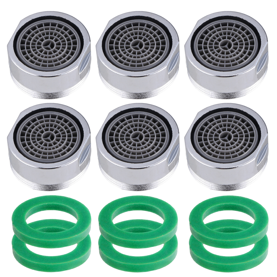 6 Pcs Bubbler Sink Aerator-22mm External Thread Brass Aerator-Water Saving Bubbler Connector Aerator Diffuser for Kitchen Bathroom Faucet-Polished Chrome