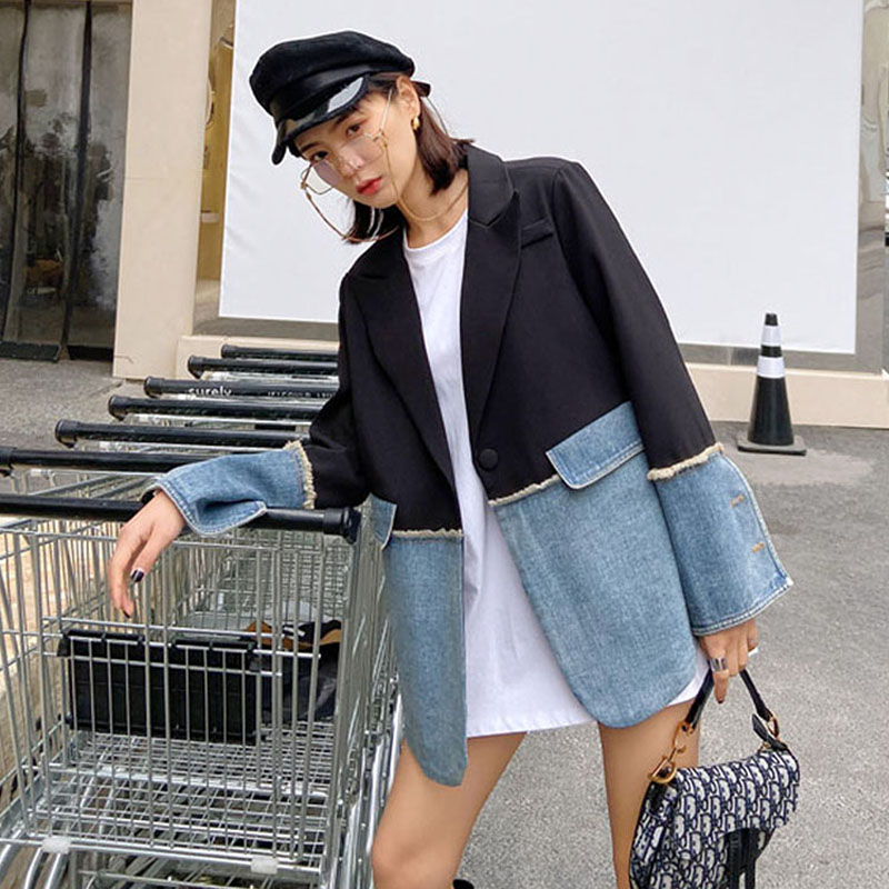 2020 New Spring Women Denim Jacket Women Coat High Quality Lapel Patchwork Denim Blazer Fashion Casual Women Clothing NZY103