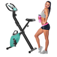 Foldable Fitness Cycling Bike Indoor Cycling Bike Web Brake with 8 Resistance Level Fitness Body Building X Type Exercise Bike