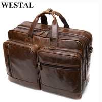 WESTAL luggage travel bags men's genuine leather suitcases and travel bags hand luggage large leather weekend bag for suit 7343