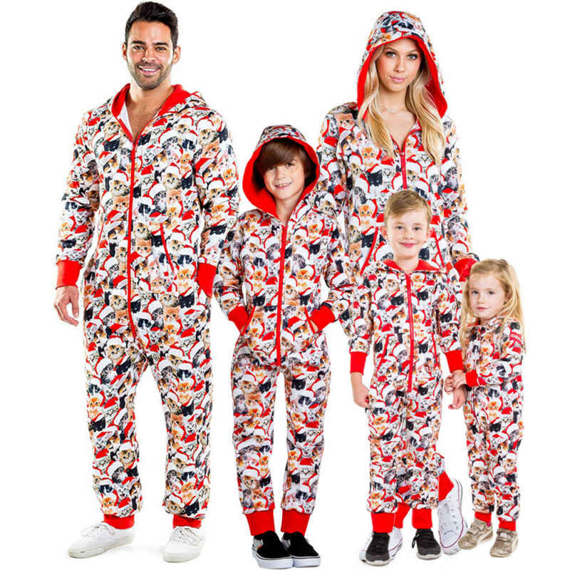 Xmas UK Family Matching Adult Kids Elk Print Christmas Pyjamas Nightwear Pajamas