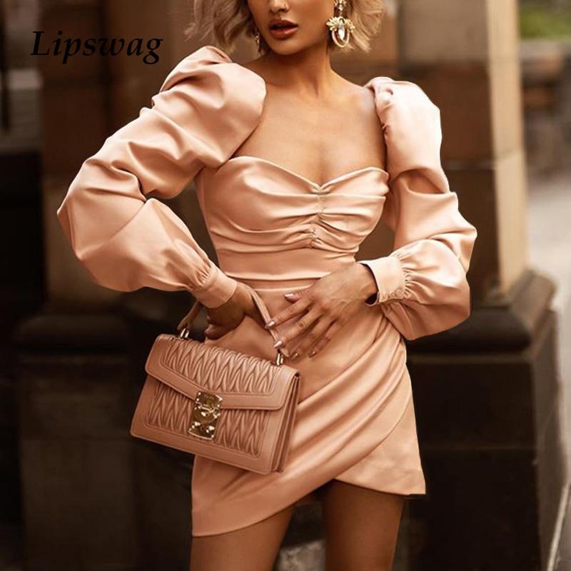 Lipswag Sexy V-neck Puff Long Sleeve Pleated Midi Dress Women Autumn Slim Clubnight Party Dress Elegant Bodycon Dresses Vestidos