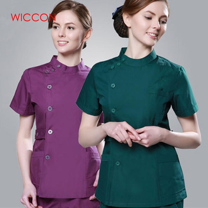 WICCON 2020 Summer New Fashion Women Hospital Medical Clothes Set Sale Design Slim Work Wear Solid Beauty Salon Nurse Uniform