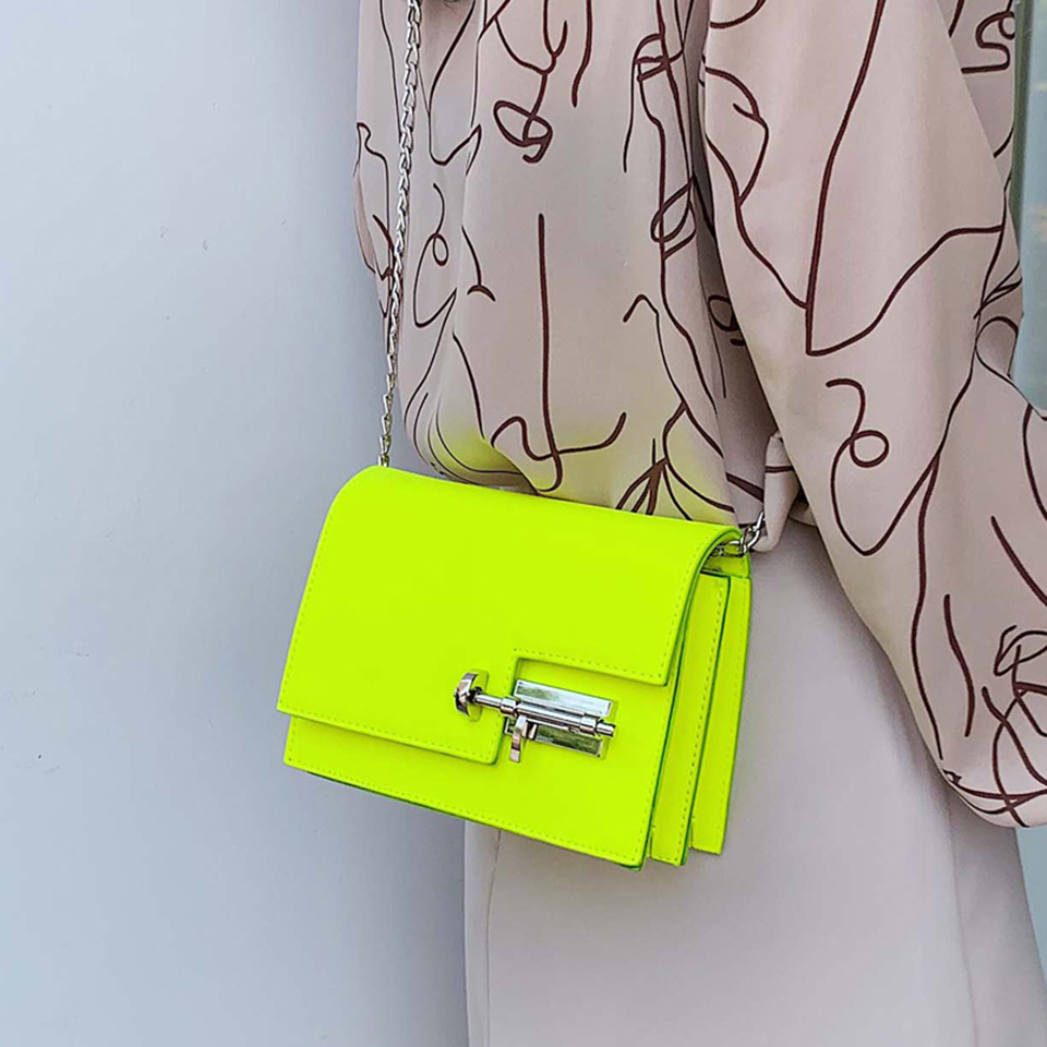 Neon Green Yellow Evening Bags For Women 4 Colors PU Leather Satchel Crossbody Bag Casual Party Shoulder Bag