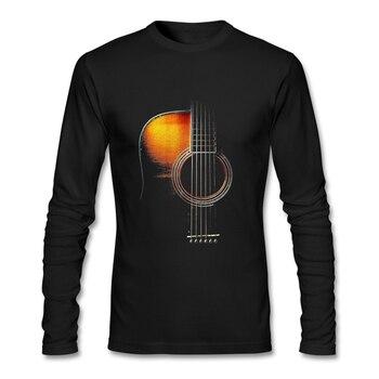 남자에 대 한 컬러 어쿠스틱 기타 재미 있은 T 셔츠 긴 소매 라운드 넥 코 튼 남자 T-셔츠 XXXL 사용자 지정 T 셔츠 인쇄 독특한 티