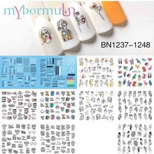 11/12 Designs Sexy Girl Nail Water Decals Black Writing Letter Tattoos Hollow Pattern Wraps Transfer Sticker on Nails Manicure
