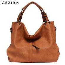 CEZIRA Brand Large Womens Leather Handbags High Quality Female Pu Hobos Shoulder Bags Solid Pocket Ladies Tote Messenger Bags