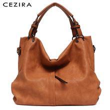 Ceziraブランド大の女性の革ハンドバッグ高品質女性puホーボーショルダーバッグソリッドポケットレディーストートメッセンジャーバッグ