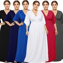 אלגנטי בתוספת גודל ערב שמלות ארוך אונליין V צוואר חצי שרוול פשוט שיפון צד פורמלי שמלות Vestidos רגוס פיאסטה 2020