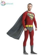 Adult Superman Costume Grey Movie Superhero Cosplay Costume Spandex Lycra Zentai Suit Men's Halloween Carnival Costume