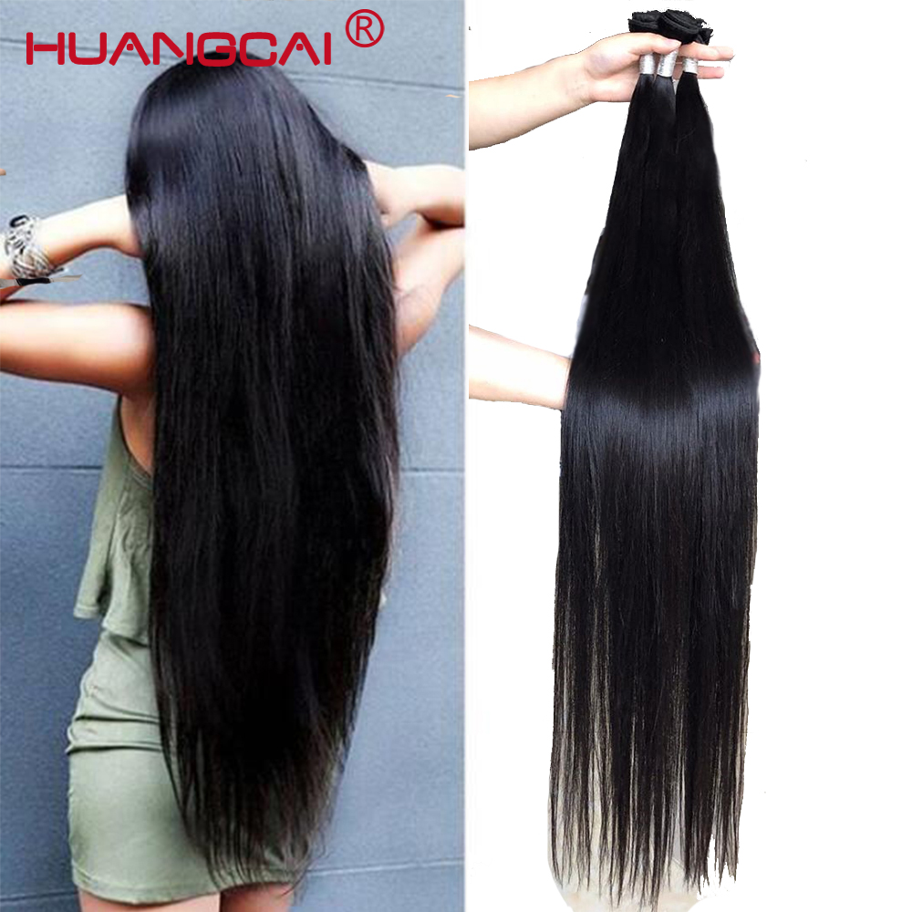 36 38 40 Inch Bundles With Closure Peruvian Straight Human Hair Weave Long Remy Hair Extensions 1/3/4 Bundles With Closure