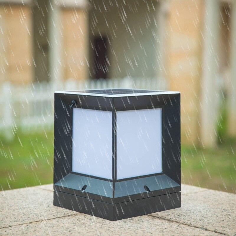 Solare Lampada Colonna Die Fusione di Alluminio Impermeabile Senza Fili A due Colori Ha Condotto La Luce Della Lampada Da Giardino Colonna Esterna in Testa Alla Colonna lampada 21 Centimetri - 2