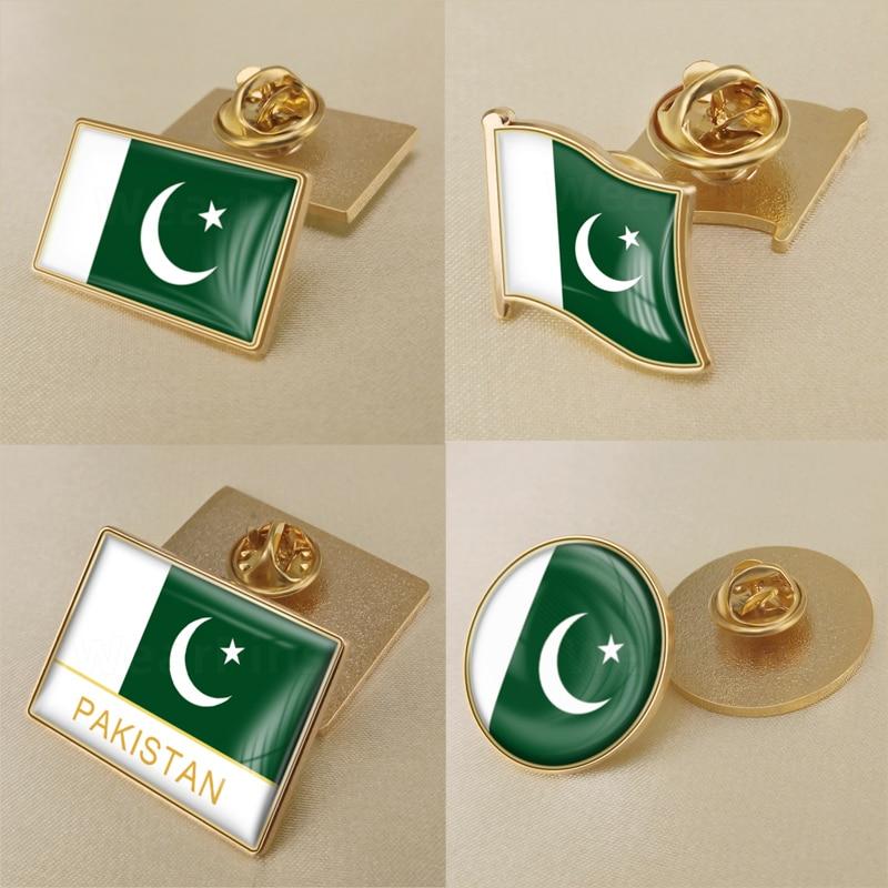 Герб Пакистан пакистанцев карта национальный флаг эмблема брошь значки нагрудные знаки