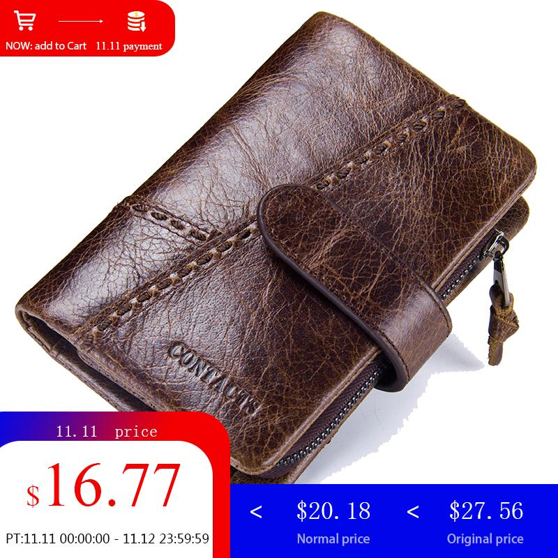 CONTACT'S Genuine Leather Men Wallet Clutch Male Purse Business Men Wallet Phone Money Bag Coin Purse Mens Business Card Holder