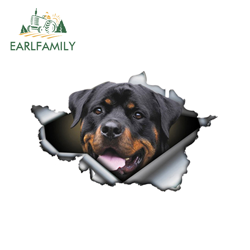 EARLFAMILY 13cm X 8.4cm Funny Rottweiler Car Sticker Torn Metal Decal Reflective Stickers Pet Dog Decals 3D Rott Car Styling