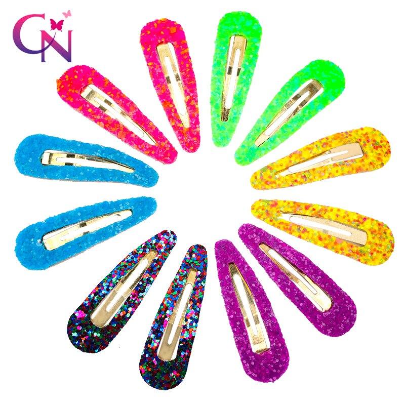 CN 12 Pcs/Sets Glitter BB Hair Clips For Girls Mini Candy Color Hair Barrettes Hairpins Handmade Kids Headwear Hair Accessories