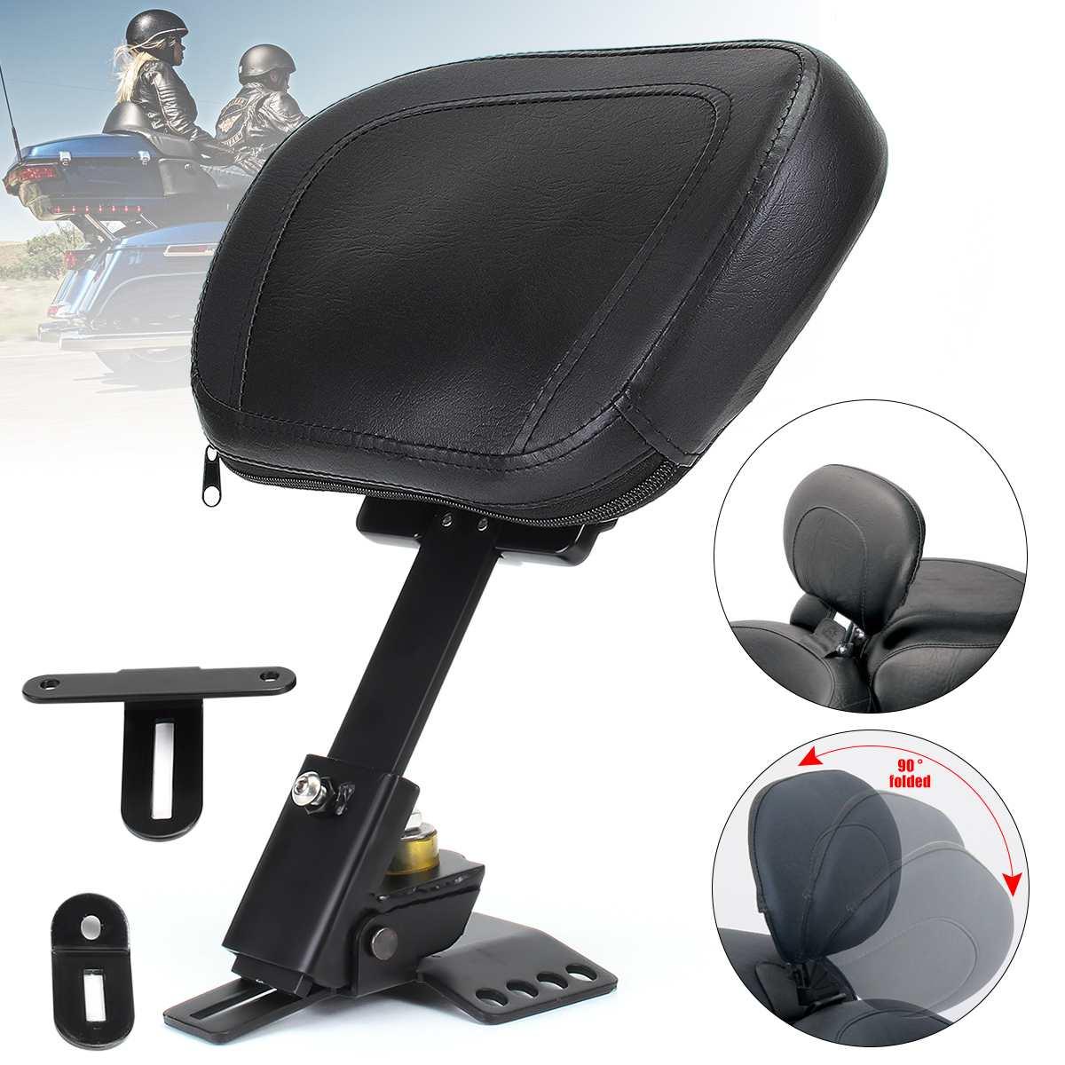 Adjustable Motorcycle Driver Rider Leather Seat Cushion Backrest Black For Harley Davidson-Road/Street/Electra Glide 1988-2016