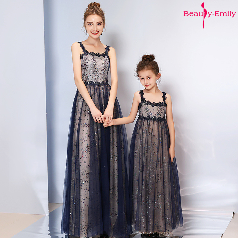 Beauty-Emily Sling Strapless Mother Child Evening Dresses Floor-Length Prom Gowns Party Dress Sequins Tulle Girl Dress Vestidos