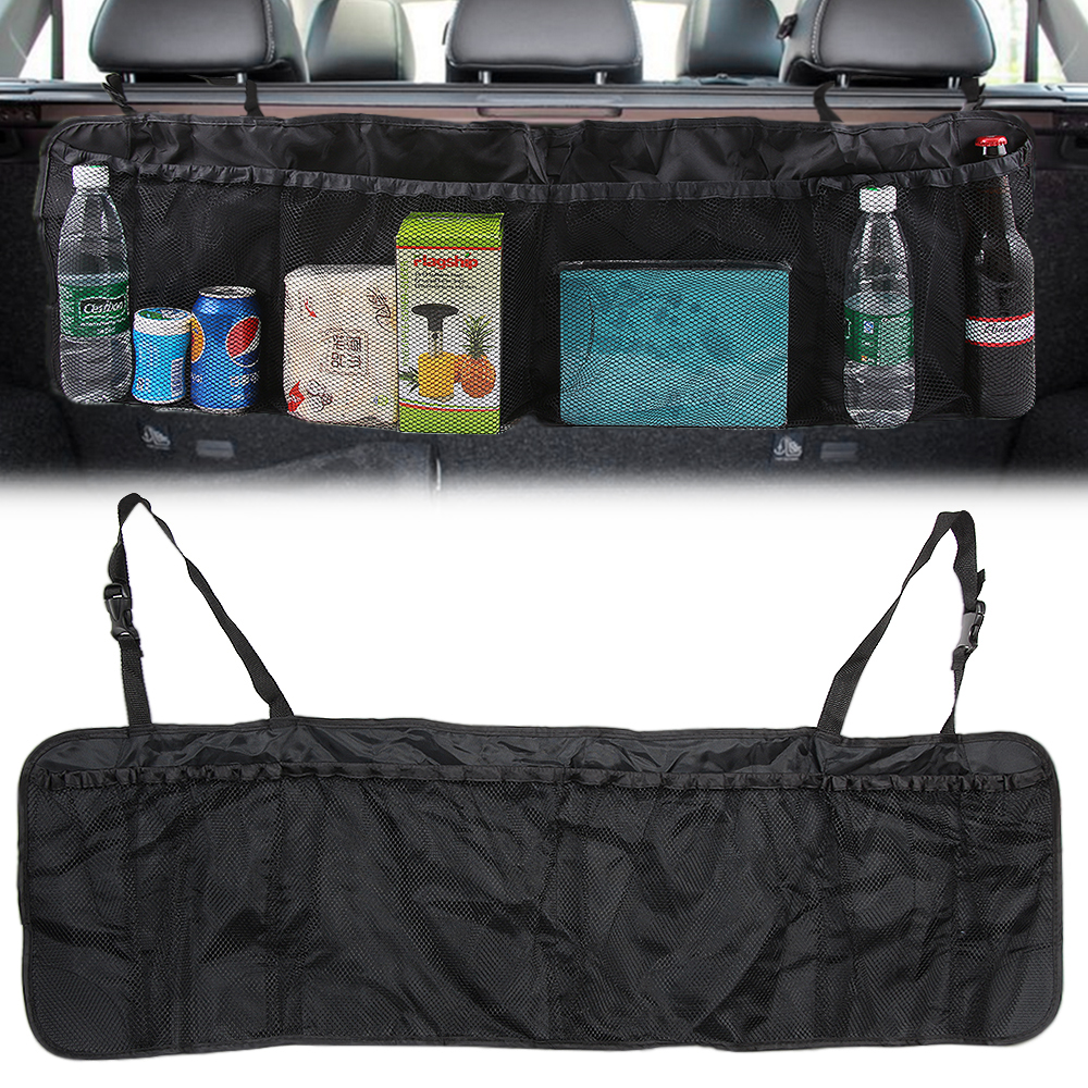 Car SUV Rear Seat back Trunk Seat Bag Organizer Backseat Storage Bag Net Big Capacity Foldable Auto Stowing Tidying Accessories