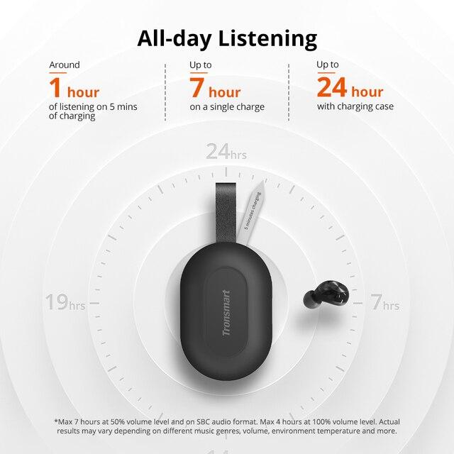 [Newest Version] Tronsmart Spunky Beat Bluetooth TWS Earphone APTX Wireless Earbuds with QualcommChip, CVC 8.0, Touch Control 4