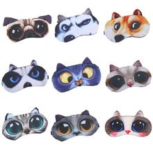 3D Funny Cartoon Animal Cat Dog Printed Eye Patches Sleeping Mask Cotton Blindfold Portable Adjustable(China)