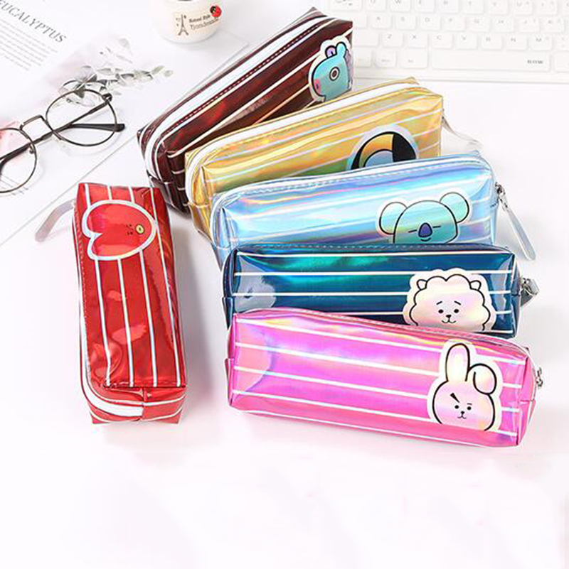 Simple Stripe Laser Pencil Case Office Student Pen Box Case School Supplies Creative Pen Box Astuccio Scuola