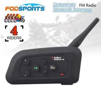 Fodsports V4 Motorcycle Helmet Intercom Wireless Bluetooth Headset BT intercomunicador FM radio 4 Riders 1200M - DISCOUNT ITEM  48 OFF Automobiles & Motorcycles