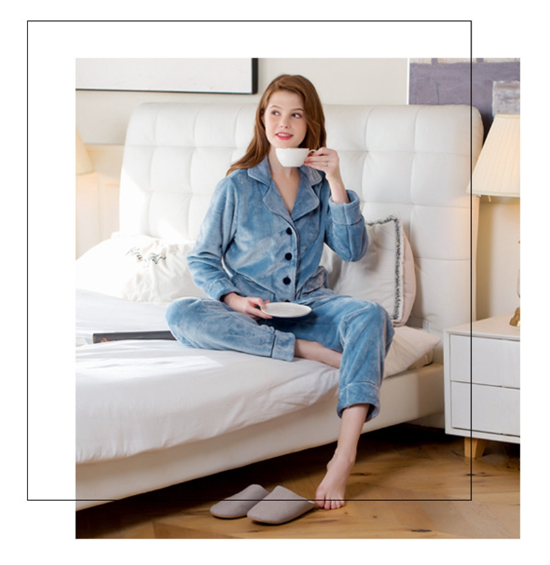 LISN 2019 Autumn And Winter New Pajamas Thick Flannel  Two-piece Suit Squeezed Edge Hit Color Couple Home Service