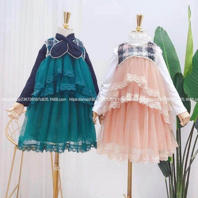 Vêtements pour enfants automne 2019 nouvelles filles air-cloué perle treillis épissure couche par couche écran gilet robe marée enfants robes pour les filles