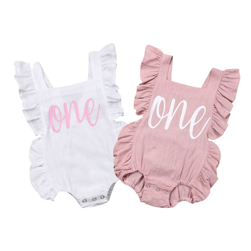 Baby Girl Birthday Party Clothing One Years Bodysuit Outfit Sunsuit Jumpsuit Playsuit For Kid Clothes Toddler Children Newborn