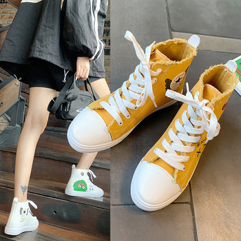ผ้าใบรองเท้า 2019 สไตล์เกาหลีสไตล์ใหม่หลากหลายสไตล์รองเท้าสีขาวผู้หญิงฤดูร้อนแบบสบายๆเครื...
