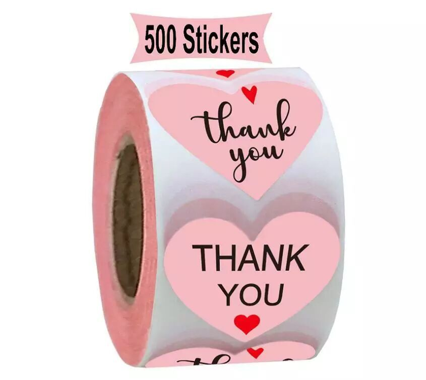 Pink Thank You Stickers Seal Labels For Scrapbooking Paper Stickers1 Inch 500pcs Wedding Party Cute Stationery Stickers
