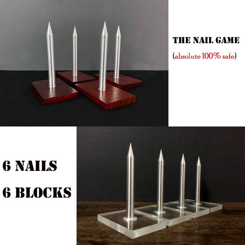 The Nail Game (6 Nails 6 Blocks) Magic Tricks Crush Paper Bag Magia Close Up Bar Gimmick Props Mentalism 100% Safe Nail Roulette