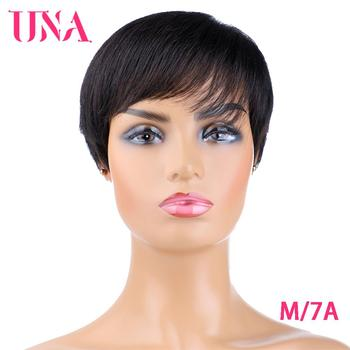 UNA Short Straight Human Hair Wigs For Women Non-Remy Brazilian Human Hair Machine Wigs 7A Middle Ratio 120% Density 75g For Ful una malaysia human hair wigs for women wavy machine wigs non remy human hair wigs 7a middle ratio 10 120