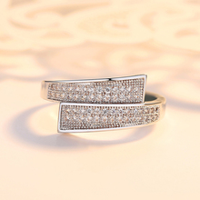 KOFSAC Occident Chic Design Micro-inlay Double Row Zircon Ring For Women Anniversary Fashion Jewelry 925 Silver Lady Gift