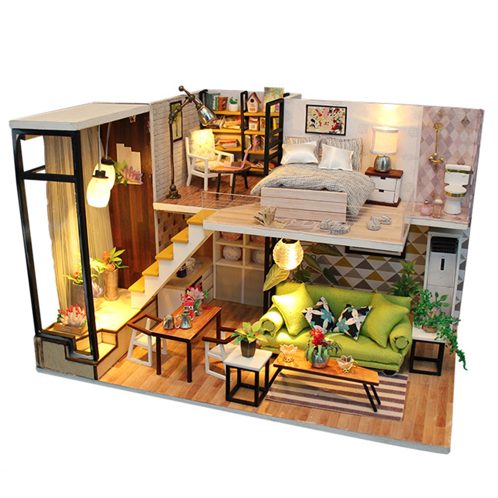 DIY Birthday Gift Doll House Miniature Furnitures LED Lights Handwork Villa Kit Assembling Toy Wooden|Doll Houses| |  - title=