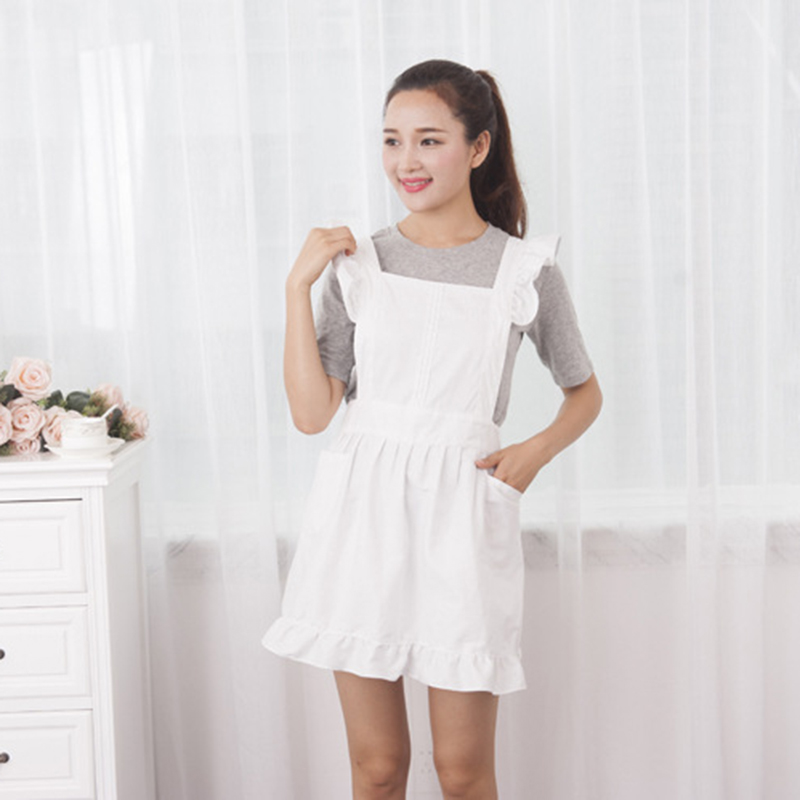 Petite Maid Ruffle Retro Apron Kitchen Cooking Cleaning Fancy Dress Cosplay Costume (White)|Aprons| |  - title=