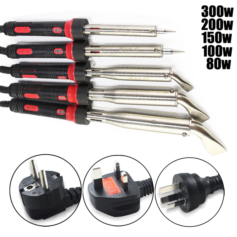 High Power Soldering Iron 300W 200W 150W 100W 80W 220V Solder With Bent Tips EU UK AU Plug With Work Indicating Lamp Ground Wire