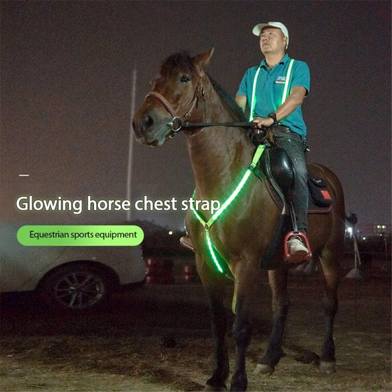 LED Luminous Collar for Horses, Chest Strap Horse Harness with LED Light USB Rechargeable for Dark surroundings