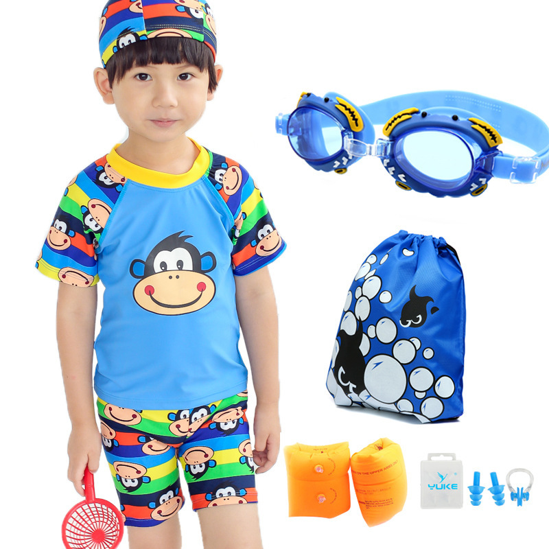 CHILDREN'S Swimwear BOY'S One-piece/Two-piece Swimsuits Boy Baby Sun-resistant Swimwear Cartoon Goggle And Swimming Cap Outfit