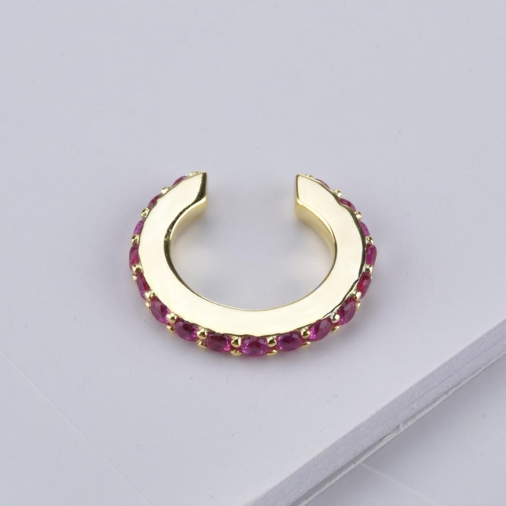 ANDYWEN 925 Sterling Silver Red Pink Ear Cuffs Multi Color Cuffs Women Crystal Zircon CZ Rock Punk No Piercing Clips Jewelry