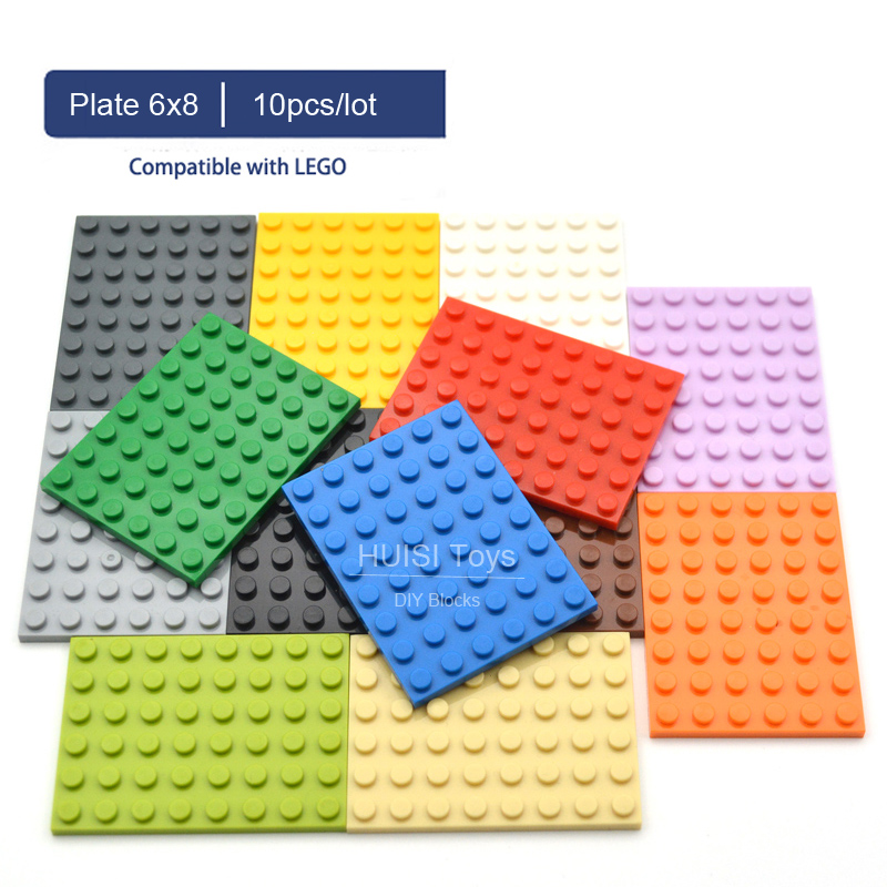 Compatible With Original LEGOO 6x8 Plate 6*8 Baseplate DIY Learning Education Bricks Plastic Bluidling Toys Figures Parts 10pc