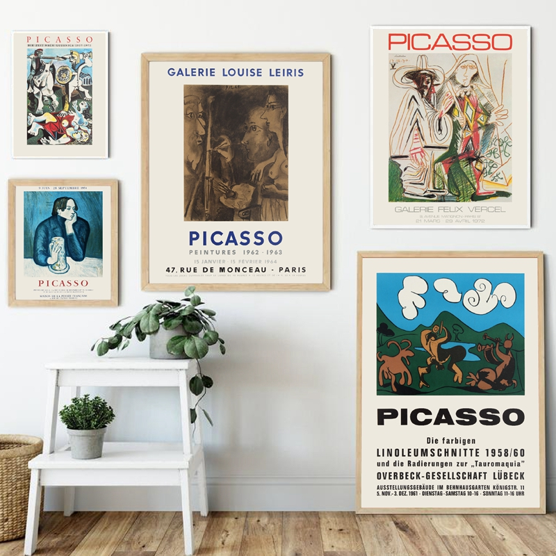 Абстрактная винтажная Картина Пабло Пикассо, выставка, холст, плакаты и принты, Современная галерея, настенная живопись, домашний декор|Рисование и каллиграфия|   | АлиЭкспресс