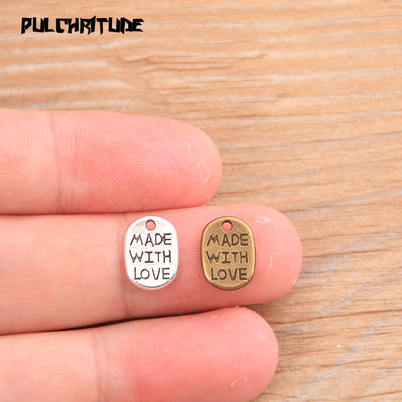 """PULCHRITUDE 60pcs 8*11mm Two Color Letter Charms """"MADE WITH LOVE """"Pendants Handmade  Vintage For DIY Jewelry Making Findings 2"""