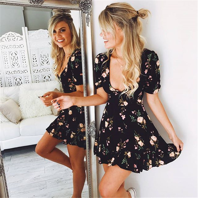 2019 Summer <font><b>Boho</b></font> Style Women <font><b>Sexy</b></font> Mini <font><b>Floral</b></font> <font><b>Printed</b></font> Vestidos Summer <font><b>Beach</b></font> <font><b>Short</b></font> Sleeve <font><b>V</b></font> neck Evening Party Bohemian <font><b>Dress</b></font> image