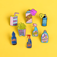 Repellent Button fries Enamel Pins Brooches Detergent Boxed drink pink Pin Big bottle spray for women Badge Jackets Jewelry gift(China)