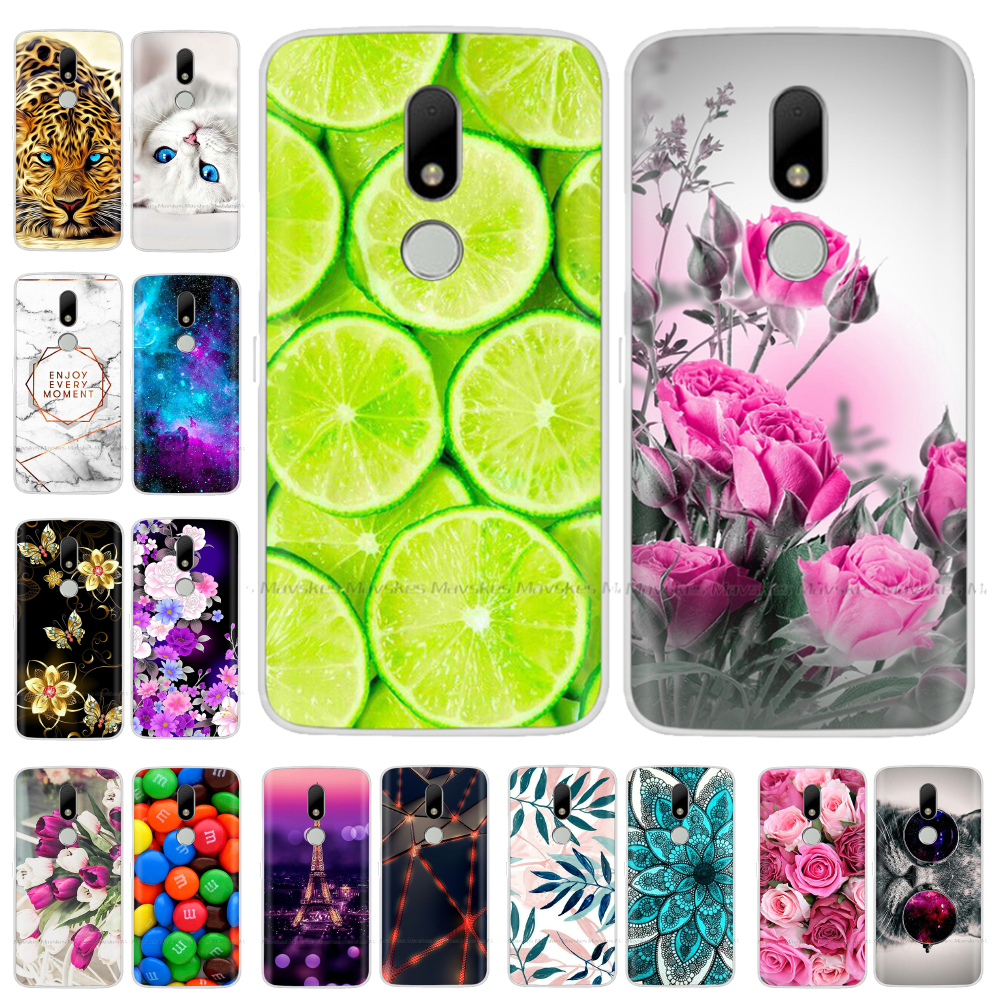Soft TPU <font><b>Case</b></font> For <font><b>Motorola</b></font> <font><b>Moto</b></font> M <font><b>Case</b></font> XT1662 5.5inch Cute Cartoon Silicone Back Cover For <font><b>Moto</b></font> M <font><b>Case</b></font> <font><b>XT1663</b></font> Phone <font><b>Cases</b></font> flower image