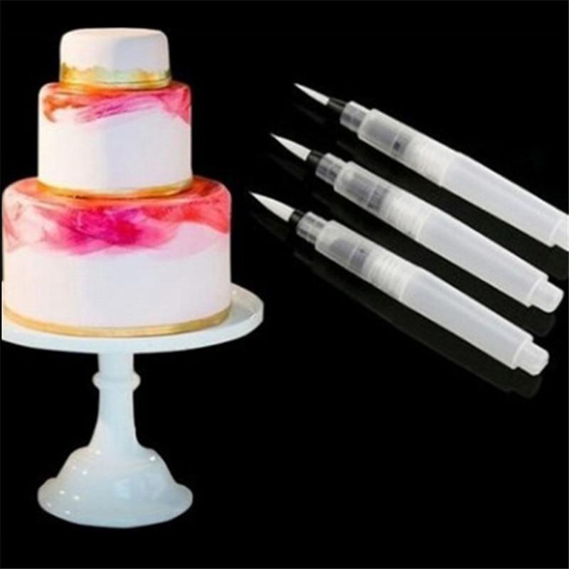 TTLIFE Coloring Water Plastic Pen For Watercolor Cake Decorating Tools Water Brush Painting Pen Fondant Cake Sugarcraft DIY Pen