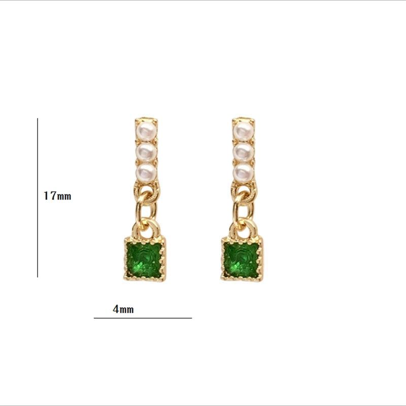 S925 Ear-pin Korea Temperament Simple Miniature Pearl Earring Sweet Girl Small Earring Double Lock Design