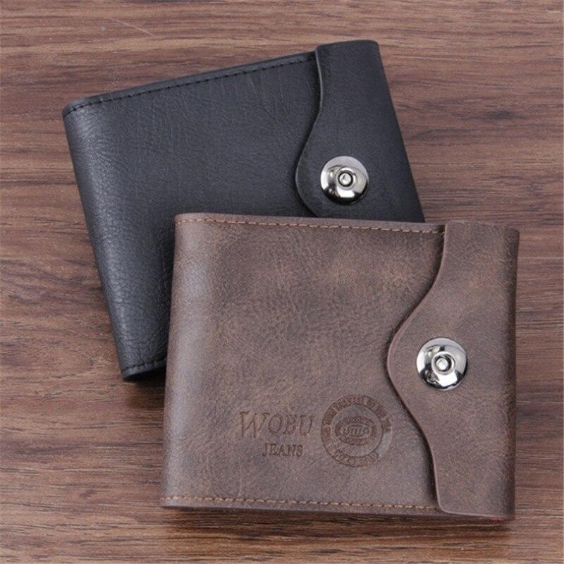 Brand Luxury Vintage Men PU Leather Purse Short Hasp Wallets Male Wallet Short Slim Male Purses Money Clip Credit Card Dollar